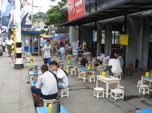A street-side tea shop.
